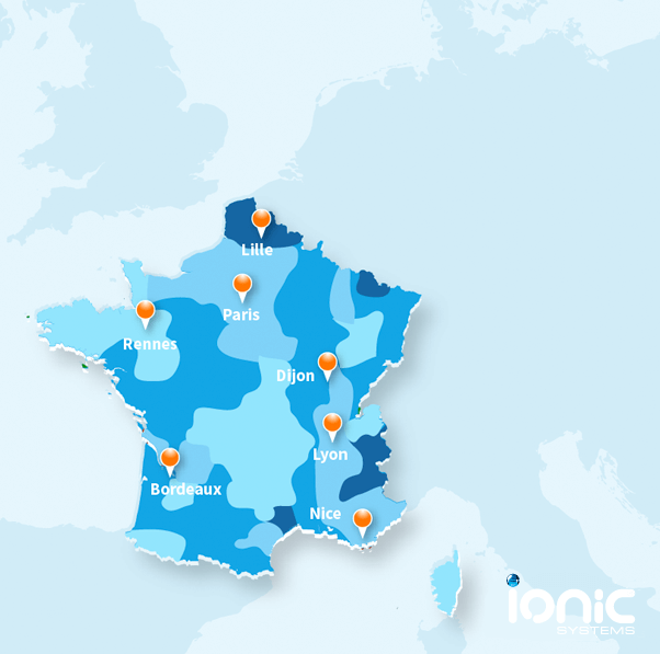 Map showing the quality of water hardness in France